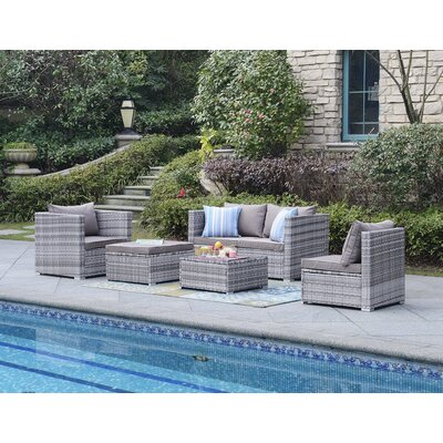 Alexandrina 6 Piece Deep Seating Group with Cushion Fabric: Brown