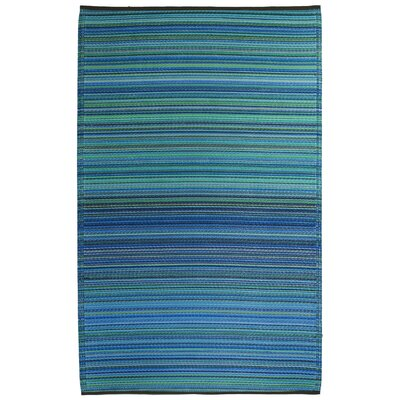 Gwendoline Turquoise/Moss Green Cancun Stripe Indoor/Outdoor Area Rug