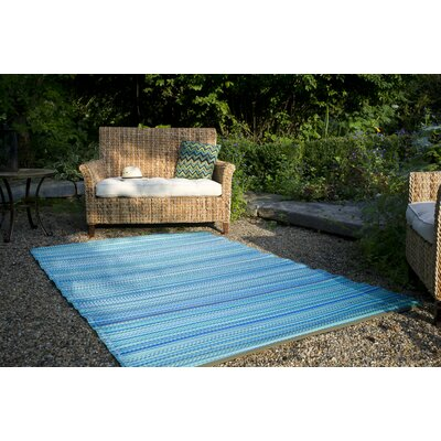 Marianne Turquoise/Moss Green Stripe Indoor/Outdoor Area Rug Rug Size: Rectangle 6 x 9