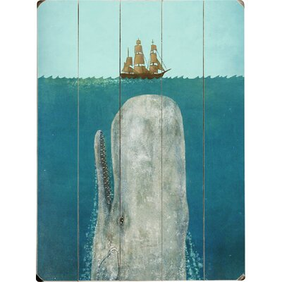 'The Whale' Graphic Art Print on Wood in Blue Size: 12