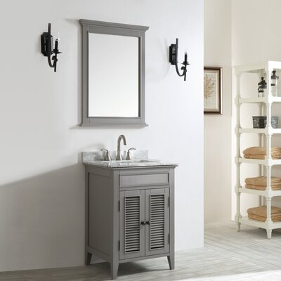 Gwyneth 24 Single Vanity Set with Mirror Base Finish: Grey