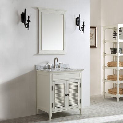 Gwyneth 30 Single Vanity Set with Mirror Base Finish: Antique White