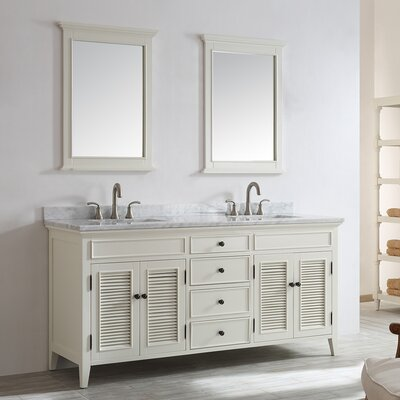 Gwyneth 72 Double Vanity Set with Mirror Base Finish: Antique White