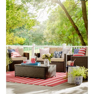 Lyndon Hand-Tufted Red Indoor/Outdoor Area Rug Size: Rectangle 76 x 96