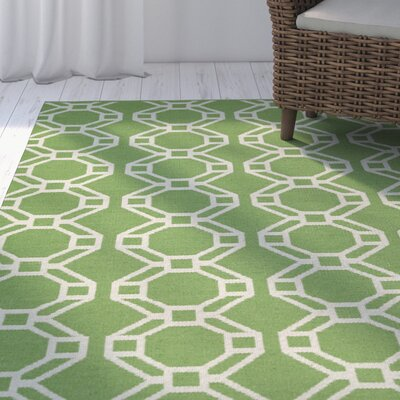 Fowler Lime Green & Cream Indoor/Outdoor Area Rug Rug Size: Runner 2 x 6