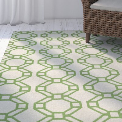Fowler Cream/Lime Green Indoor/Outdoor Area Rug Rug Size: Rectangle 9 x 12