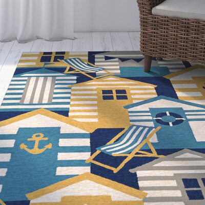 Seaside Beach Hut Blue/Brown Indoor/Outdoor Area Rug Rug Size: Rectangle 2 x 4