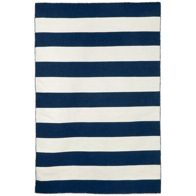Ranier Stripe Hand-Woven Navy Indoor/Outdoor Area Rug Rug Size: Rectangle 83 x 116