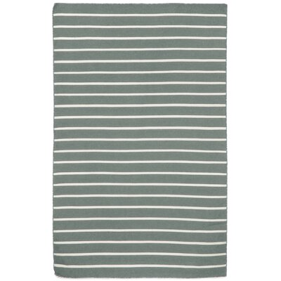 Ranier Pinstripe Hand-Woven Grey Indoor/Outdoor Area Rug Rug Size: Rectangle 76 x 96