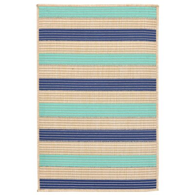 Larana Stripe Beige/Blue Synthetic Indoor/Outdoor Area Rug Rug Size: 111 x 211
