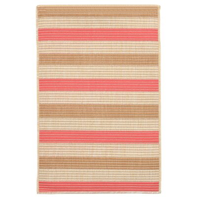 Larana Stripe Beige/Pink Indoor/Outdoor Area Rug Rug Size: 111 x 211
