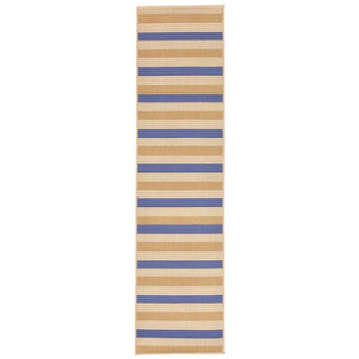 Larana Stripe Beige/Blue Indoor/Outdoor Area Rug Rug Size: Runner 111 x 76