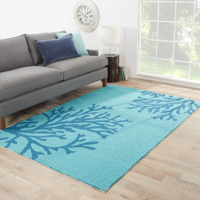 Exeter Conversational Hand-Hooked Blue Indoor/Outdoor Area Rug Rug Size: Rectangle 76 x 96