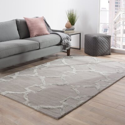 Bering Hand-Tufted Gray Area Rug Rug Size: 96 x 136