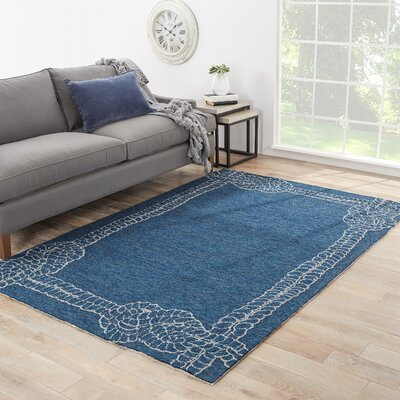 Sandtown Blue/Ivory Indoor/Outdoor Area Rug Rug Size: Rectangle 76 x 96