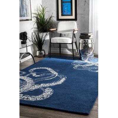Claretta Hand-Tufted Blue Area Rug Rug Size: Rectangle 86 x 116