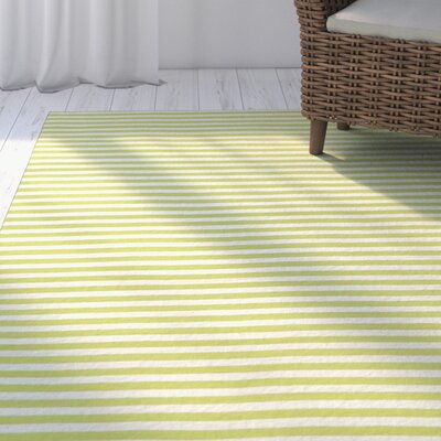 Torington Mini Stripe Hand Woven Lime Indoor/Outdoor Area Rug Rug Size: Rectangle 83 x 116