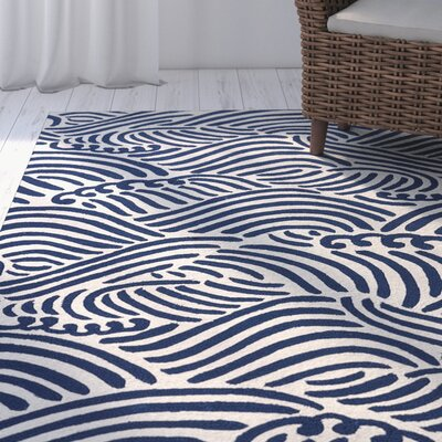 Sandtown Cloud Cream/Navy Indoor/Outdoor Area Rug Rug Size: 76 x 96