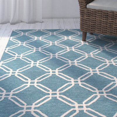Pencader Hand-Tufted Blue/Ivory Area Rug Rug Size: Rectangle 5 x 76