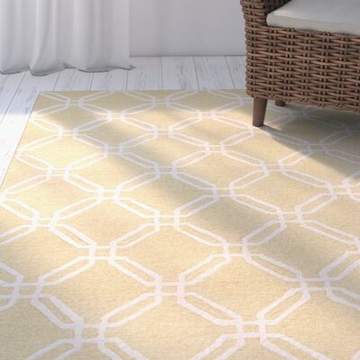 Pencader Hand-Tufted Yellow/Ivory Area Rug Rug Size: 76 x 96