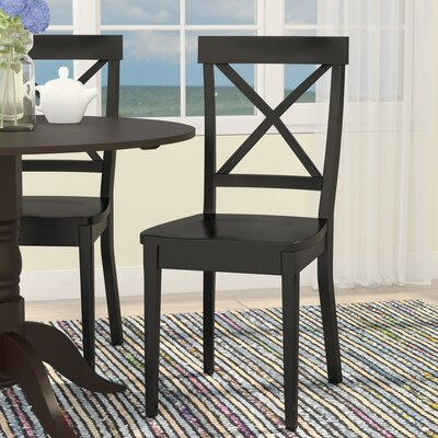 Salmon Falls Solid Wood Dining Chair (Set of 2) Side Chair Finish: Black