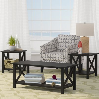 Deakyneville 3 Piece Coffee Table Set Finish: Black
