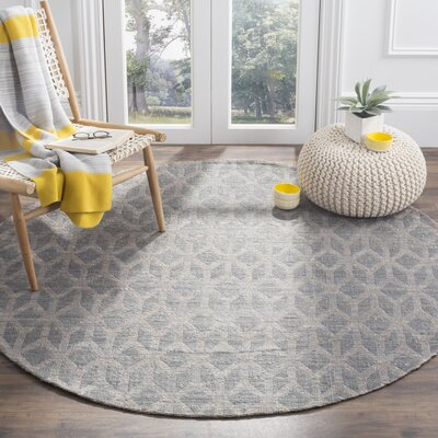 Cromwell Hand-Woven Grey/Gold Area Rug Rug Size: Round 6