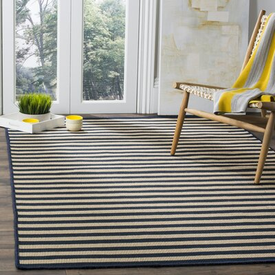 Verde Ivory/Navy Indoor/Outdoor Area Rug Rug Size: Round 6