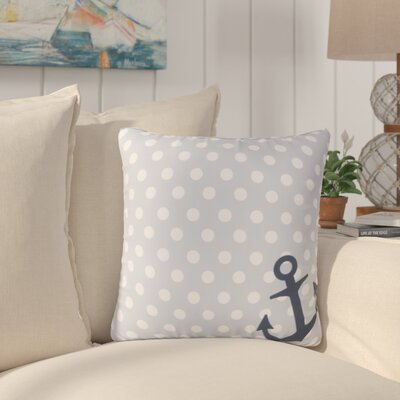 Sweetwood Anchored in Polka Dots Outdoor Throw Pillow Size: 18 H x 18 W x 4 D, Color: Light Gray/Ivory