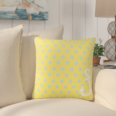 Sweetwood Anchored in Polka Dots Outdoor Throw Pillow Size: 18 H x 18 W x 4 D, Color: Sunflower/Sky Blue
