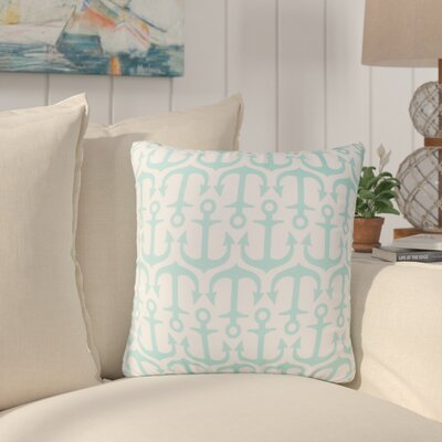 Sweetwood Traditional Anchor Outdoor Throw Pillow Size: 26 H x 26 W x 4 D, Color: Sky blue
