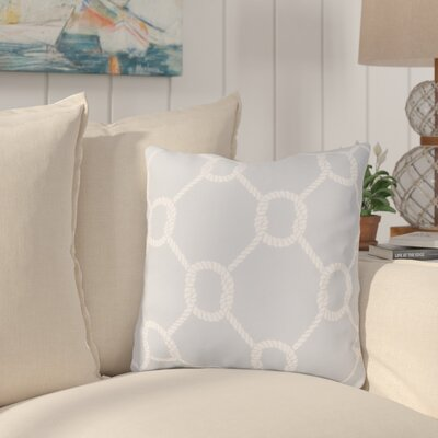 Sweetwood Tied Up Delight Outdoor Throw Pillow Size: 18 H x 18 W x 4 D, Color: Light Gray/Ivory