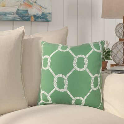 Sweetwood Tied Up Delight Outdoor Throw Pillow Size: 18 H x 18 W x 4 D, Color: Kelly Green/Ivory