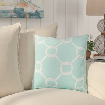 Sweetwood Tied Up Delight Outdoor Throw Pillow Size: 18 H x 18 W x 4 D, Color: Sky Blue/Ivory