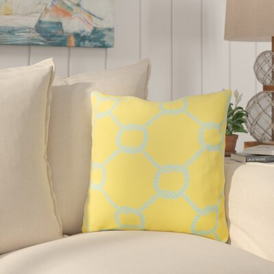 Sweetwood Tied Up Delight Outdoor Throw Pillow Size: 26 H x 26 W x 4 D, Color: Sunflower/Sky Blue