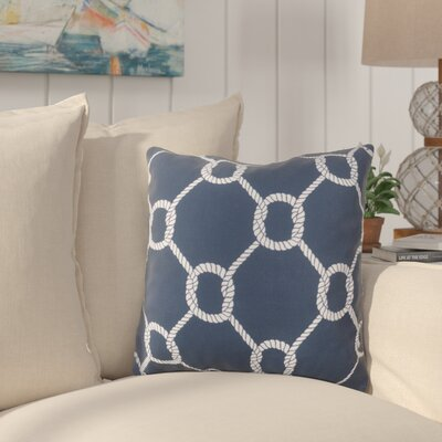 Sweetwood Tied Up Delight Outdoor Throw Pillow Size: 18 H x 18 W x 4 D, Color: Navy/Ivory