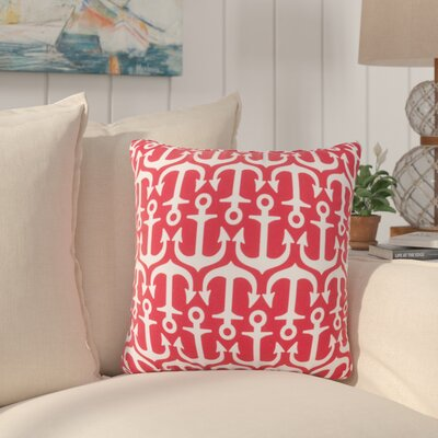 Sweetwood Traditional Anchor Outdoor Throw Pillow Size: 18 H x 18 W x 4 D, Color: Poppy