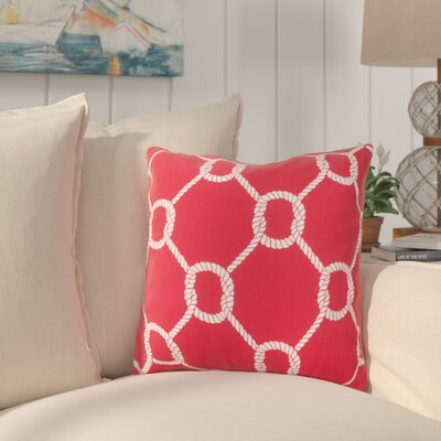 Sweetwood Tied Up Delight Outdoor Throw Pillow Size: 18 H x 18 W x 4 D, Color: Poppy/Ivory
