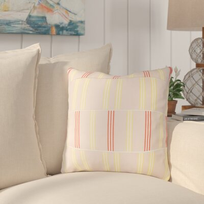 Atwell Cotton Throw Pillow Size: 20 H x 20 W x 4 D, Color: Pale Pink / Butter / White / Orange