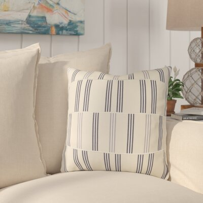 Watson Cotton Throw Pillow Size: 18 H x 18 W x 4 D, Color: Beige / Charcoal / White / Gray
