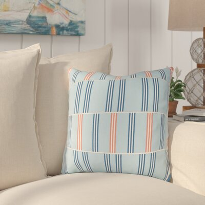 Lina Cotton Throw Pillow Size: 18 H x 18 W x 4 D, Color: Sky Blue / Dark Blue / White / Orange