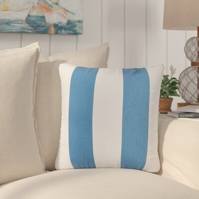 Travis Indoor/Outdoor Sunbrella Throw Pillow Color: Blue/ White