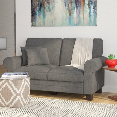 Buxton 61 Rolled Arm Loveseat Upholstery: Gray