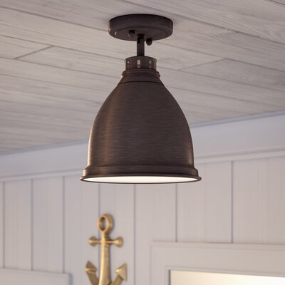 Bodalla 1-Light Semi Flush Mount Finish: Rubbed Bronze with Rubbed Bronze Shade