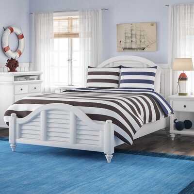 Harrison Striped Panel 3 Piece Bedroom Set Finish: Brushed White, Size: King