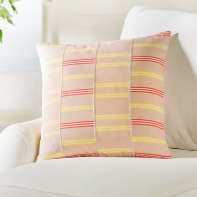 Atwell Square Cotton Throw Pillow Size: 18 H x 18 W x 4 D, Color: Pale Pink / Butter / White / Orange
