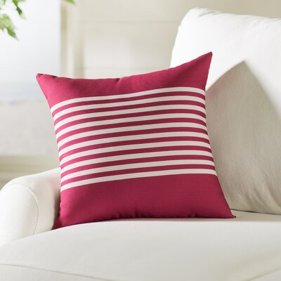 Marlowe Half Stripe Throw Pillow Size: 20 H x 20 W, Color: Burgundy / Ivory