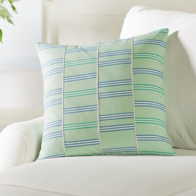 Atwell Square Cotton Throw Pillow Size: 18 H x 18 W x 4 D, Color: Mint / White / Sky Blue / Emerald