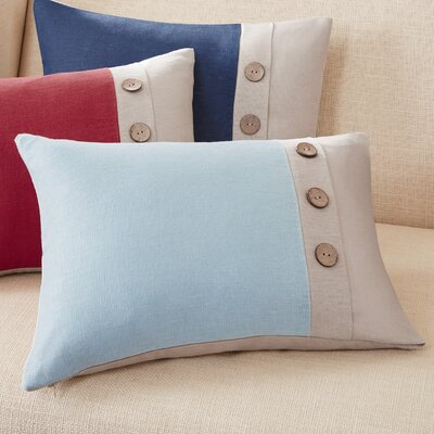 Averill Oblong Linen Lumbar Pillow Color: Aqua