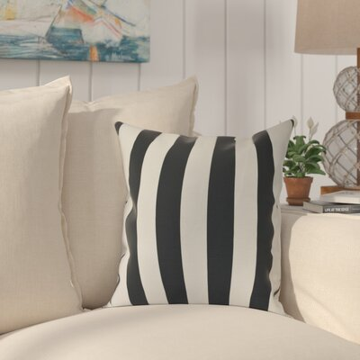 Westfield Stripe Outdoor Throw Pillow Size: 16 H x 16 W, Color: Black